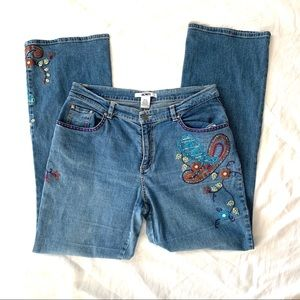Acorn Embroidered Jeans Size 10 Flare Style